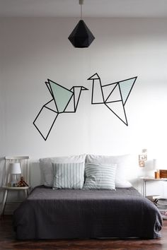 Origami washi tape on wall