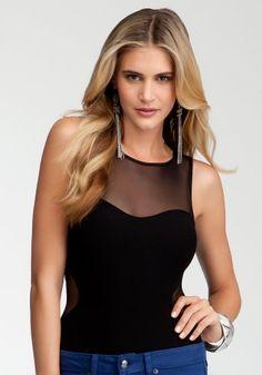 Mesh Inset Bodysuit  , Black , M/l