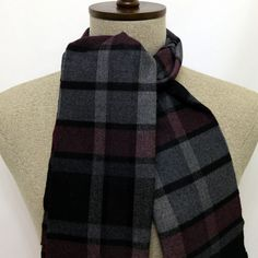 Black, Gray, Burgundy, Plaid Scarf - SC211-1 #handmadeatamazon #nazodesign