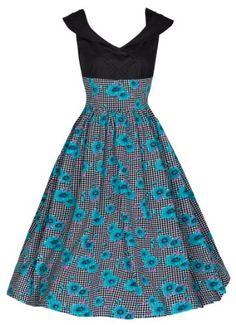 Lindy Bop 'Julisa' Vintage Floral Print Mediterranean Style Picnic Dress (XL, Black/Turquoise) Lindy Bop,http://www.amazon.com/dp/B00I7V6WG0/ref=cm_sw_r_pi_dp_Bc.ytb0F886QQSQQ