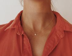 """Tiny Gold or Rose Gold Cross Necklace on Gold Fill 14"""", 16"""", 18"""", or 20"""" Chain"""