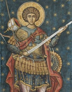 Byzantine Icons, Byzantine Art, Religious Paintings, Religious Art, Saint George And The Dragon, Roman Church, Art Through The Ages, Religion Catolica, Dragon Slayer