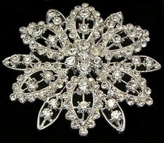 LARGE SILVER CRYSTAL FLOWER VINTAGE BROOCH, WEDDING, PARTY, SCARF, GIFT