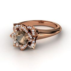Lotus Ring, Round Smoky Quartz 18K Rose Gold Ring with Diamond ... reminds me of hot chocolate !.