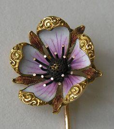 Antique Enameled Flower Stick Pin