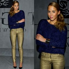 gold pants and navy