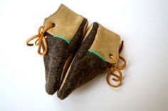 Modern Jake wool and leather baby and toddler shoes with non-slip suede sole