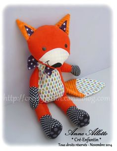 Créations pour enfants et + Fox Toys, Fabric Animals, Fabric Toys, Sewing Dolls, Animal Pillows, Baby Sewing, Handmade Toys, Softies, Baby Dolls