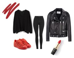 red by justherfashion on Polyvore featuring moda, MANGO, Acne Studios, Topshop, adidas Originals, L'Oréal Paris and NARS Cosmetics