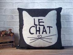SALE -Cat pillow case -black linen pillow -black decorative throw pillow cover with cat design - black cat pillow cover - animal pillow case on Etsy, £13.51