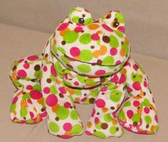 Mary Meyer Polka Dot Frog Bean Bag Plush Stuffed Toy Hot Pink Green Flower Feet #MaryMeyer