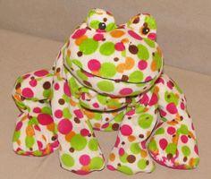 Mary Meyer Polka Dot Frog Bean Bag Plush Stuffed Toy Hot Pink Green Flower Feet #MaryMeyer