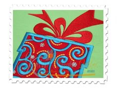 Christmas Package Applique for Machine Embroidery