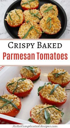 My Crispy Baked Parmesan Tomatoes are quick and easy to make. They bake to crispy perfection which the entire family will enjoy. Vegetarian Sandwich Recipes, Entree Recipes, Side Dish Recipes, Appetizer Recipes, Beef Recipes, Healthy Recipes, Drink Recipes, Italian Recipes, Healthy Food