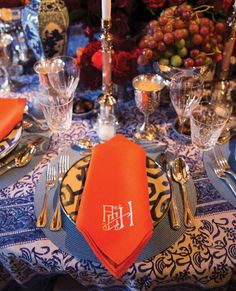 """From @kimberlywhitman's book, Monograms for the Home: """"One of my favorite ways to elevate my table settings is with monogrammed napkins, which I have been collecting since I got married. The monograms not only add a punch of color but also make those who use them feel special and important."""""""