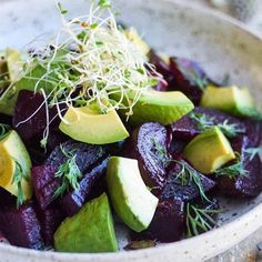 Lunch! Roasted beets avocado dill and lots of homegrown sproutshellip