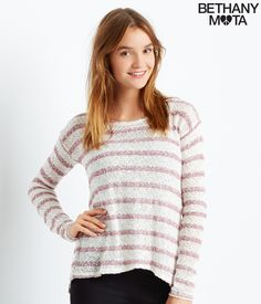 Long Sleeve Striped Fly-Away Back Top from the new Bethany Mota Collection at Aeropostale