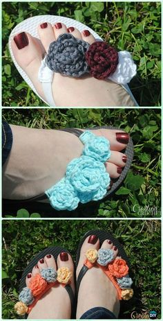 Crochet Flip Flop Footwear Makeover Free Patterns: Flip Flop Slippers Refashion, restyle with crochet flip flop soles into slippers, sandals and even bootsCrochet Baby Booties Slippers Free Patterns: Crochet Baby Booties Slippers for Spring and Crib Crochet Sandals, Crochet Baby Booties, Crochet Slippers, Knit Or Crochet, Crochet Crafts, Crochet Projects, Knitting Patterns, Crochet Patterns, Flipflops