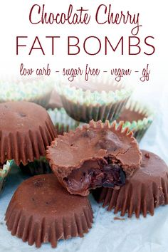Chocolate Cherry Fat Bombs (vegan, gluten free, low carb, sugar free) - These healthy treats are sweet and rich. Perfect for a keto diet or anyone wanting to consume more coconut oil. #fatbombs #keto #sugarfree #vegan