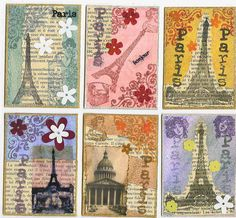 Paris swap using newsprint, packing tape, stamping and embellishments to creat a vintage Paris look. Vintage Paris, Vintage Roses, World Thinking Day, Atc Cards, Vintage Crafts, Vintage Pictures, Image Sharing, Amazing Art, Vintage World Maps