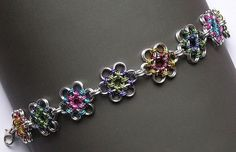 Chainmaille Bracelet - Japanese Flower Weave Multicolor - Enchanted Moon