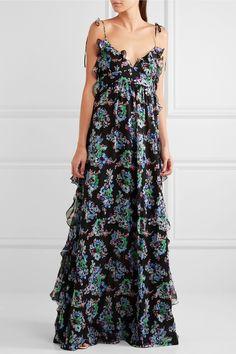 MSGM | Ruffled floral-print silk-chiffon maxi dress | NET-A-PORTER.COM