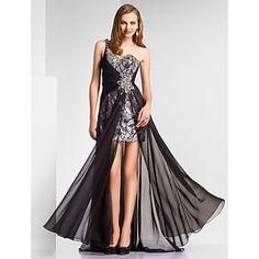 un piso de longitud gasa hombro vaina / columna | vestido de noche con lentejuelas – USD $ 199.99