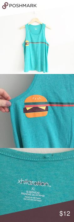 """Xhiliration Hamburger Pajama Sleep Top 50% polyester, 38% algodon, 12% rayon. Brand new without tags. Tag marked through to prevent in store returns. Juniors size XL. Chest measures approx. 21"""" laying flat from underarm to underarm. Length is approx. 27"""". •1005160068• Xhilaration Intimates & Sleepwear"""