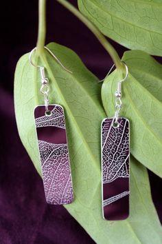 Ficus earring long rectangle by WonderlustJewelry on Etsy
