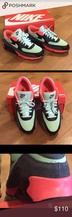 Nike Airmax 90s IN BOX Like new used condition, these 90s are mint and neon red/orange. Hard to find, and amazing looking. Minor scuffing on back of shoes, from driving a stick, hard to even see in pics! I love considering offers! Nike Shoes Sneakers