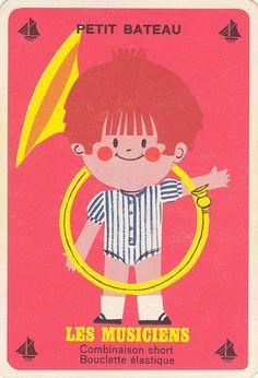 vintage french mid century card game ad from clothing company petit bateau - ptitbat 14 Vintage Advertising Posters, Vintage Advertisements, Vintage Posters, Vintage Cards, Vintage Books, Art Illustration Vintage, Brochure Folds, Lego Room, Retro Pop