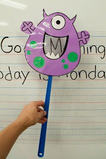 Letter Monster Swatter - How fun!  (Free idea and template from Mrs. Ricca's Kindergarten.)