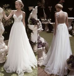 Amzing Spring Backless Sheer Lace Wedding Dresses Appliques 2015 Beach Tulle V-Neck Open Back A-Line Garden Sexy Bridal Dress Ball Gowns Online with $113.93/Piece on Hjklp88's Store