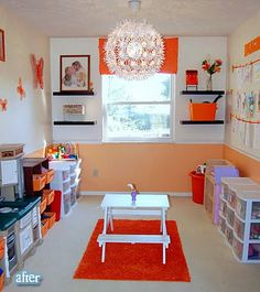 so fun for Grandma to make for the grandkids. Love the light, the shelves, and window treatment. Simple but perfect!
