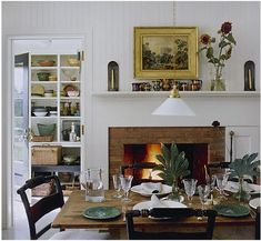 white + fireplace