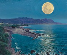 South African artist Andrew Cooper paintings are renown for their vivid colour - South African landscape paintings, Western Cape seascape paintings Andrew Cooper, South African Artists, Seascape Paintings, Paintings For Sale, Full Moon, Fine Art, Outdoor, Harvest Moon, Outdoors