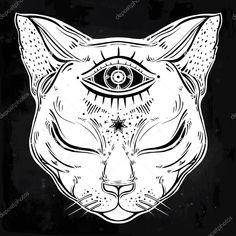 Descargar - Retrato de cabeza de gato negro con la luna y tres ojos — Ilustración de stock #123596794