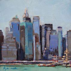 """peinture US : Karin Jurick, """"On the Road bleu pâle, gratte-ciels, New-York, paysage urbain Urban Landscape, Abstract Landscape, Landscape Paintings, Wall Art Canada, City Painting, Painting Art, Abstract City, City Art, Art Plastique"""