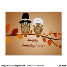 Discover share this animated gif with everyone you know giphy is happy thanksgiving two cute owls poster m4hsunfo