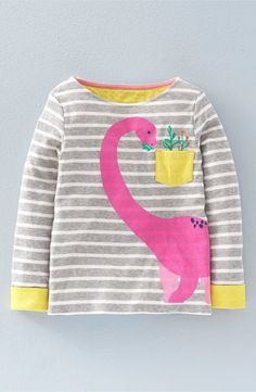 Mini Boden Designer -'Cosy Dinosaur' Graphic Long Sleeve Tee (Toddler Girls, Little Girls & Big Girls)