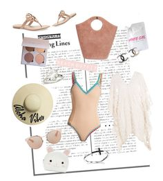 """Beach outfit"" by lea-gurtlerova on Polyvore featuring Elizabeth and James, Eberjey, Christian Dior, White Girl Sunscreen, kiini, Forever 21 and Tory Burch"