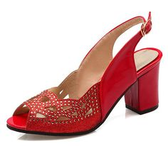 XRU Women PU Peep Toe Rhinestone Buckle Strap Chunky High Heel Slingback Sandals Red size 9 ** Click image for more details.