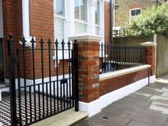 50 Gorgeous Fence Design Ideas Will Beautify Your House Victorian Front Garden, Railing Design, Terrace House Exterior, Front Garden Path, Iron Railings Outdoor, Small Front Gardens, Fence Design, Front Garden Design, House Front