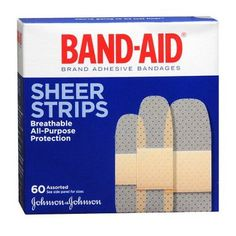 Band Aid Brand Adhesive Bandages Sheer Strips, Assorted Sizes, 60 Ct, Multicolor