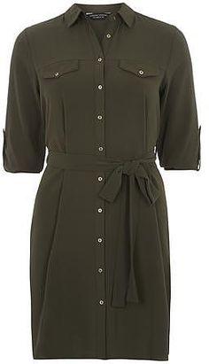 Womens dark khaki shirt dress from Dorothy Perkins - £30 at ClothingByColour.com