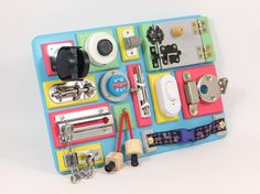 BUSY BOARD Activity board Sensory board Wooden Montessori toy Toddler latches board Natural birthday gift Motoric baby present Montessori Sensory Activities, Activities For Kids, Toddler Busy Bags, Latch Board, Busy Boards For Toddlers, Sensory Boxes, Baby Presents, Activity Board, Montessori Toys