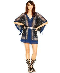 Free People Santa Cruz Butterfly-Sleeve V-Neck Printed Dress - Clearance - Women - Macy's
