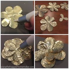 These DIY metal roses are easy to make and a stunning DIY embellishment with endless posibilities!Read the latest ideas and information for metal crafts Tin Can Art, Soda Can Art, Tin Art, Aluminum Foil Art, Aluminum Can Crafts, Metal Crafts, Metal Roses, Metal Flowers, Diy Flowers