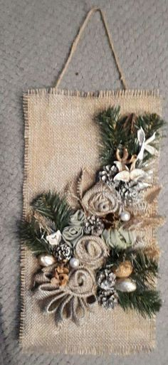 Fabric flowers are great, aren't they? Fabric flowers a Handmade Christmas Tree, Rustic Christmas, Christmas Art, Christmas Wreaths, Christmas Decorations, Christmas Ornaments, Burlap Crafts, Holiday Crafts, Diy And Crafts