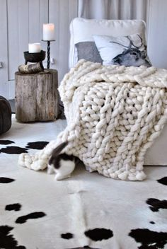 .Cowhide Rug Inspiration for a Black & White Cowhide rug in a room, buy similar at www.cowhiderugsonline.com.au